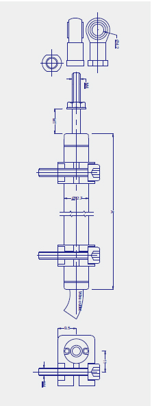 Drawing of KPZ micro pull rod linear displacement sensor (electronic ruler)